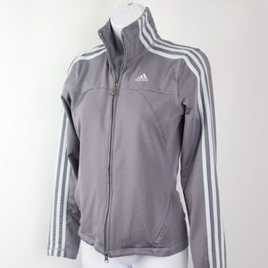 adidas gray with light blue stripes track jacket